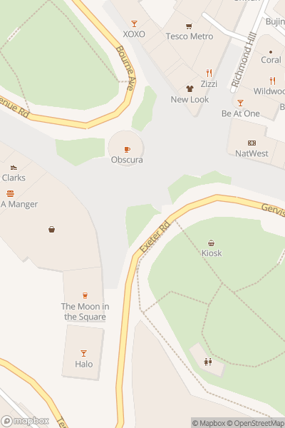 A map indicating the location of Bournemouth Coffee Culture Month