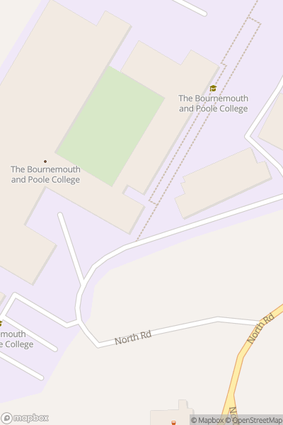 A map indicating the location of Bournemouth and Poole College (North Road campus)