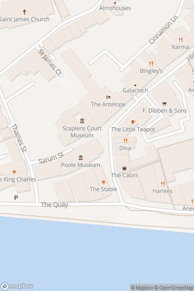 A map indicating the location of Poole Museum