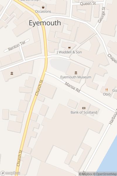 A map indicating the location of Eyemouth Museum
