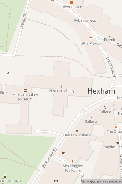 A map indicating the location of Hexham