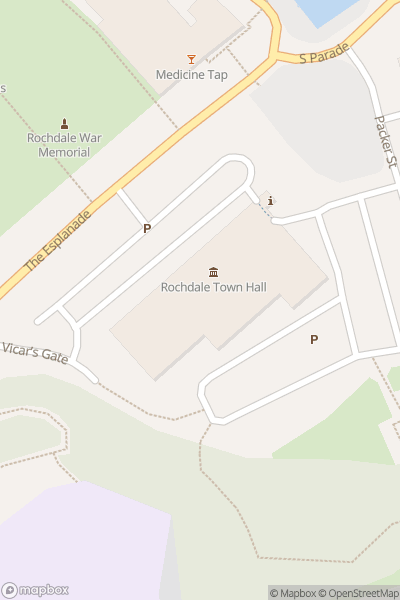 A map indicating the location of Santa's Grotto at Rochdale Town Hall