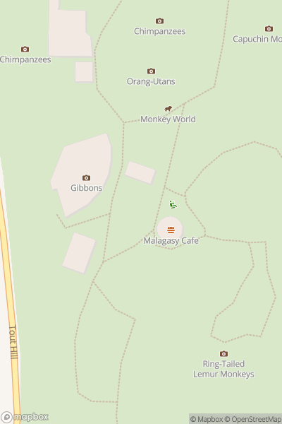 A map indicating the location of Monkey World
