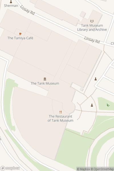 A map indicating the location of The Tank Museum