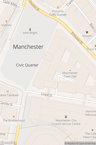 A map indicating the location of Manchester Christmas Markets