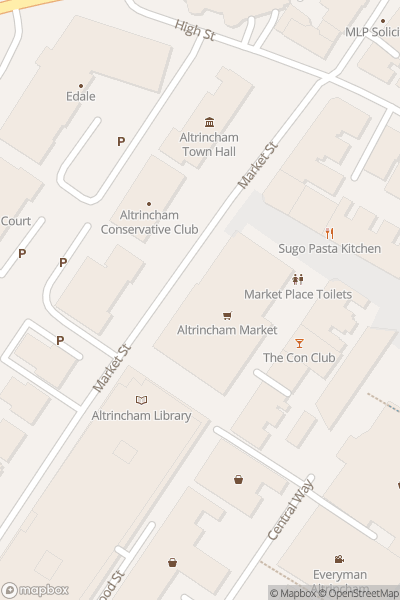 A map indicating the location of Altrincham Market House