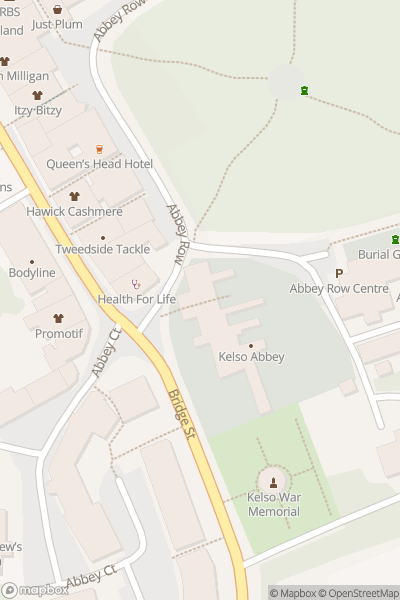 A map indicating the location of Kelso Abbey