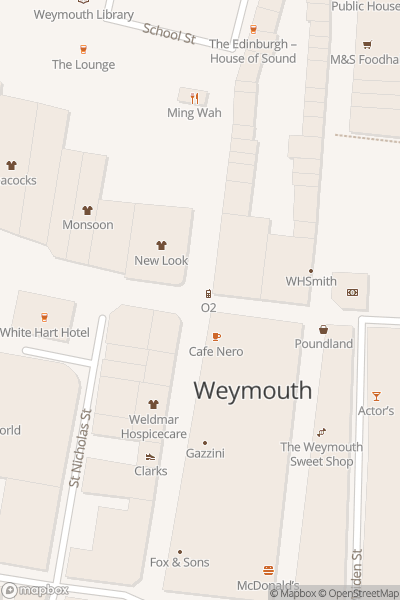 A map indicating the location of Weymouth