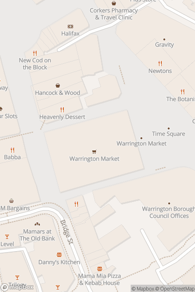 A map indicating the location of Warrington Market