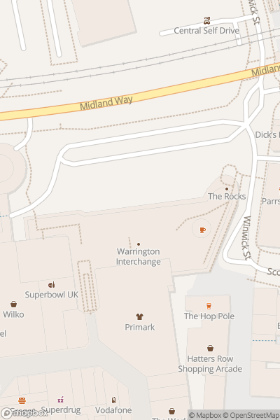 A map indicating the location of Warrington's Own Buses Travel Shop