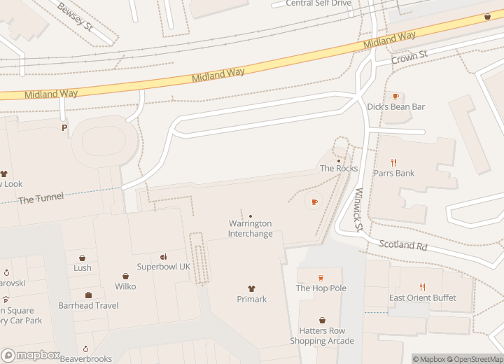 A map indicating the location of Warrington Interchange