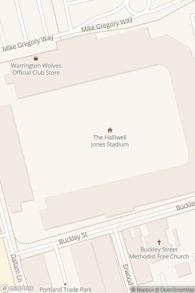 A map indicating the location of Halliwell Jones Stadium