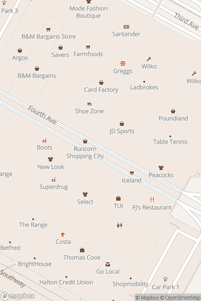 A map indicating the location of Shopping City Runcorn