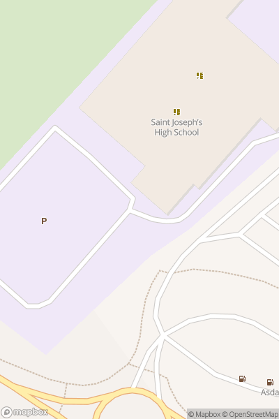 A map indicating the location of St Joseph's RC High School