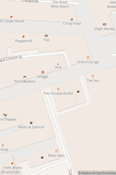A map indicating the location of The Chinese Buffet
