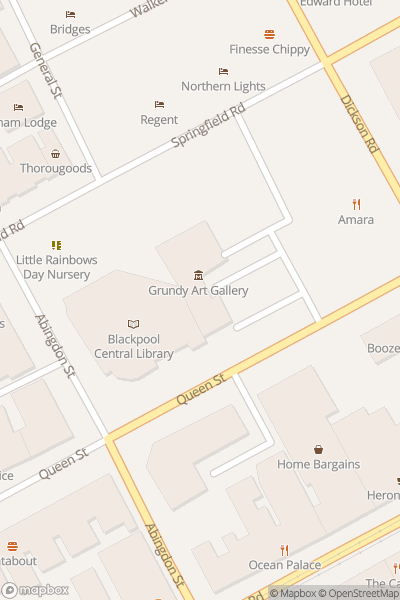 A map indicating the location of Grundy Art Gallery