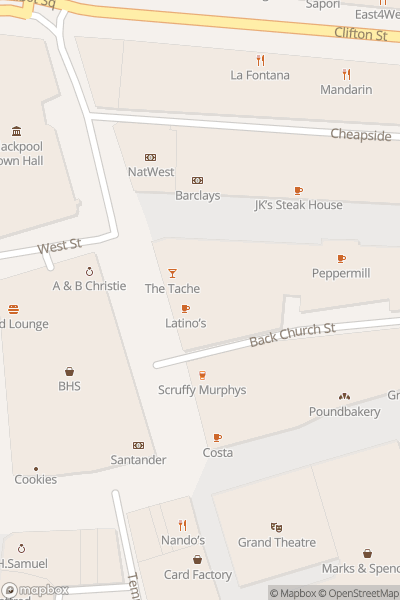 A map indicating the location of The Bank Bar and Grill