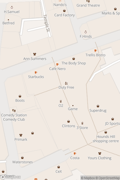 A map indicating the location of Hounds Hill Shopping Centre