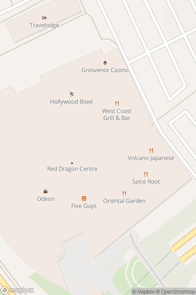 A map indicating the location of Red Dragon Centre