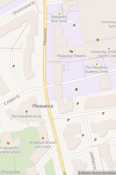 A map indicating the location of Paul Mertons Impro Chums - Edinburgh Fringe
