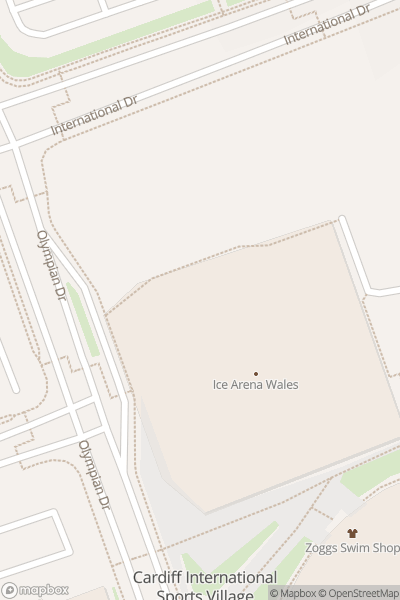 A map indicating the location of Ice Arena Wales