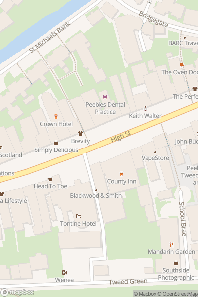 A map indicating the location of Peebles Beltane Festival