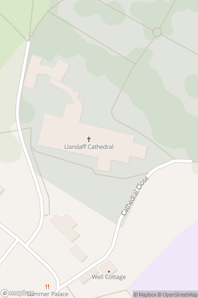 A map indicating the location of Llandaff Cathedral