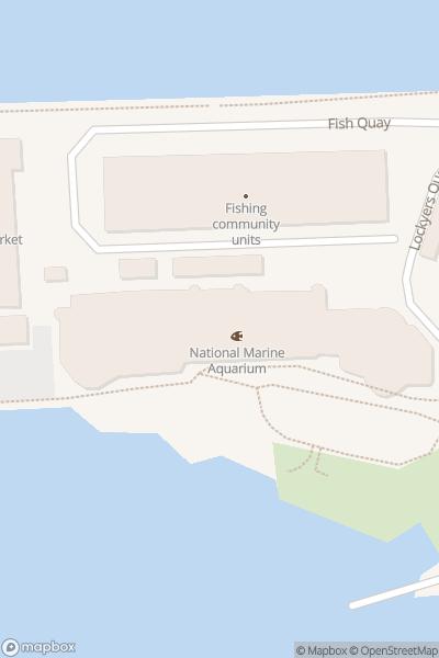 A map indicating the location of National Marine Aquarium