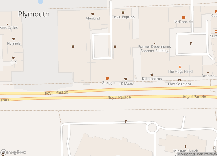 A map indicating the location of Plymouth Citybus Travel Centre