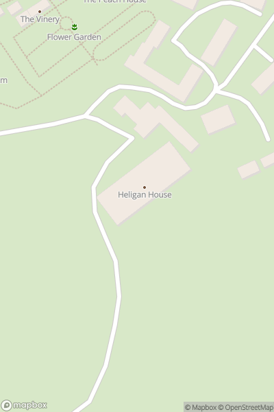 A map indicating the location of HeliganGardens