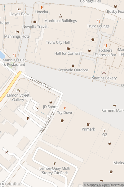 A map indicating the location of Truro Christmas Lights Switch On