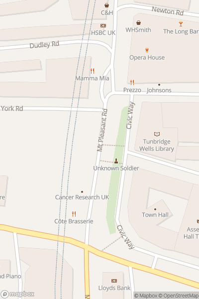 A map indicating the location of Tunbridge Wells