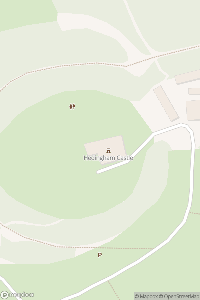 A map indicating the location of Hedingham Castle