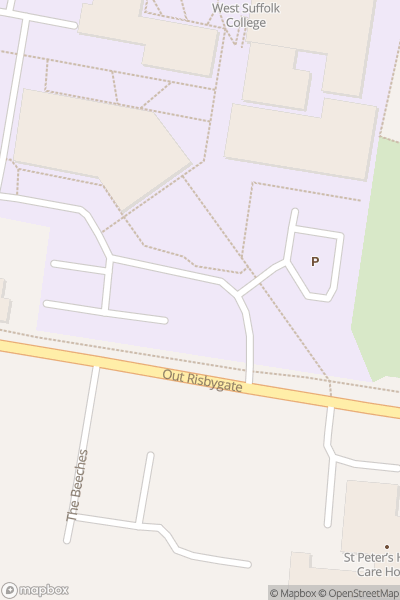 A map indicating the location of West Suffolk College