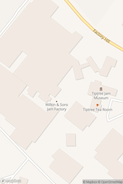 A map indicating the location of Tiptree Jam Museum and Tea Room