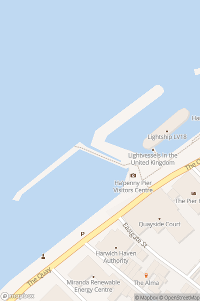 A map indicating the location of Harwich and Felixstowe