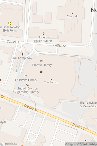 A map indicating the location of The Nor-witch Spooky Bus - Outside The Forum, Norwich