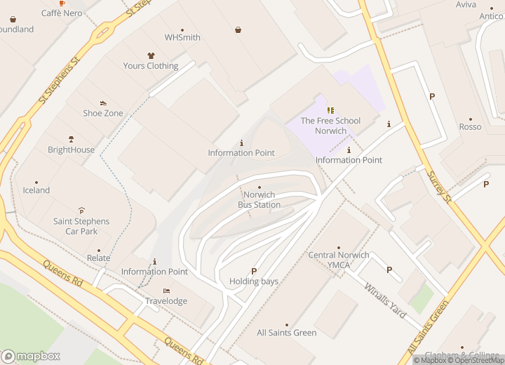 A map indicating the location of Norwich Bus Station