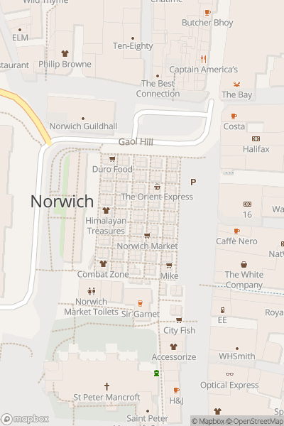 A map indicating the location of The Great Market Guided Tour, Norwich