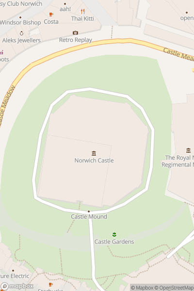 A map indicating the location of Norwich Castle