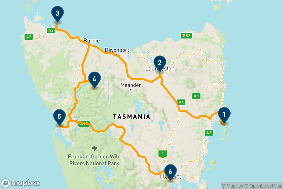 Viaggio on the road in Tasmania